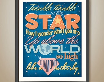 Twinkle twinkle little star. Nursery rhyme. Bedroom poster. Star. Diamond.