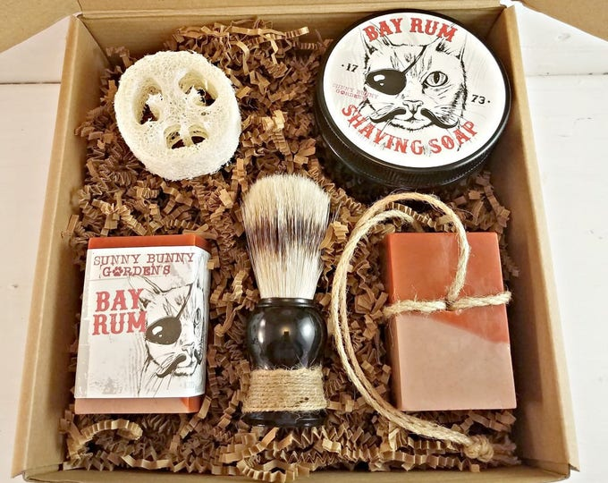 Featured listing image: Bay Rum Soap, Mens Shaving Soap Gift Box, Gifts For Men, Soap On A Rope, Birthday Gift For Him, Gifts For Dad, Manly Soap Gift Box, Gift Box