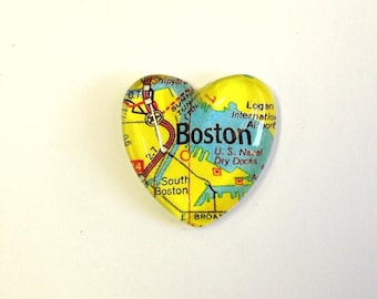 NEW Vintage Map Magnet - Heart Shape - Boston