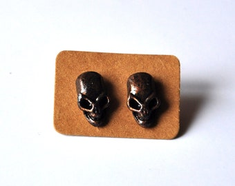 Skull Stud Earrings Gothic black brass. skull jewelry