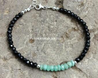 Emerald And Black Spinel Bracelet - Genuine Emerald Bracelet - Natural Gemstone Bracelet - May Birthstone Bracelet - Two Feathers Jewelry