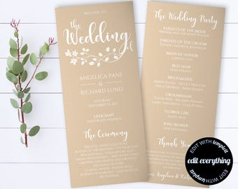 Tea Length Rustic Wedding Program Template - Kraft Wedding Ceremony Program Template - Instant Download DIY Program Template - Kraft Program