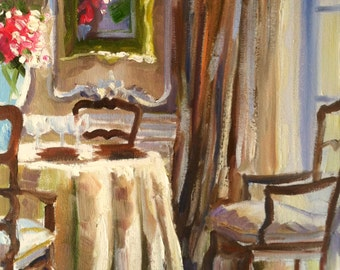FRANSE EETKAMER Art Print of Original Oil Painting, French dining room