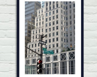 NYC photography, New York City art, New York street name sign, building architecture art, 5th Avenue Central Park Plaza, vertical picture