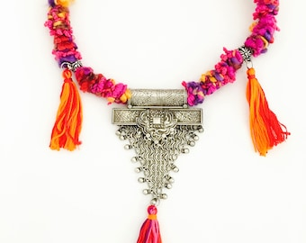 Tribal Silver Necklace with Cotton Tassels, Antique Indian Rajasthani Pendant, Tribal Jewelry for women