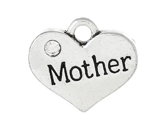 """4 Pieces Antique Silver Rhinestone Heart """"Mother"""" Charms"""