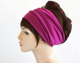 Fuchsia Turban Head Band, Yoga headband, Wide Headband, Exercise Headband, Pretied Turban, Hot Pink  299-21a