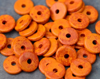 25 Mykonos Greek Ceramic Beads Speckled Orange 13mm Round  Disk Beads