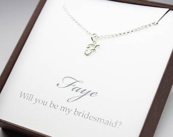 Bridesmaid proposal custom printed name sterling silver letter necklace will you be my bridesmaid gift