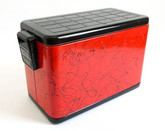 Vintage 1950s HTF Kampkold Aluminum Cooler with Sandwich Tray VGC Retro Red Enamel Black Spaghetti String Pattern, DISCOUNT For Pickup