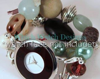 Seaside.. Sea Green, Beige, and Dark Brown Beaded Watch Band, Silver Plated Beads, Charms, Ribbon