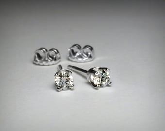 Diamond Earrings, Genuine Diamond Stud Earrings, Solid 14K White Gold, Natural Diamond, Genuine Diamond Earrings, 14K Gold Post Earring Stud