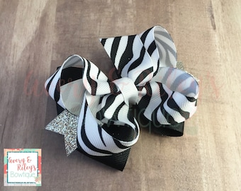 Zebra and Silver Sparkle Bow
