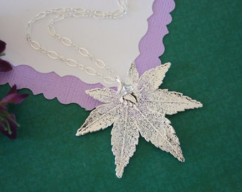 Silver Maple Leaf Necklace, Real Leaf Necklace, Japanese Maple Leaf, Sterling Silver Leaf Necklace, LC57