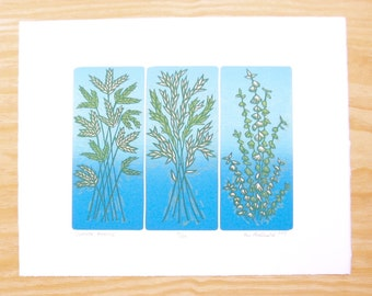 "Woodblock Print - ""Summer Evening""- Blue Blendroll - Plant Print"