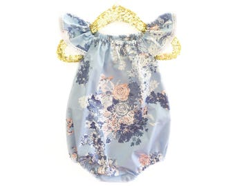 Floral Baby Romper, Toddler Romper, Baby Romper, Floral Romper, Spring Romper, Romper, Blue Romper, Shower Gift, Coming Home Outfit
