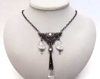Black Gypsy necklace steampunk victorian inspired with crystals black filigree perfect for that carnival gypsy steampunk time traveler bride