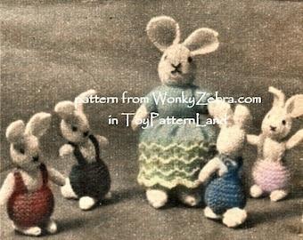 Vintage Knitted Mini Bunny Rabbit Toy Pattern PDF 555 from WonkyZebra