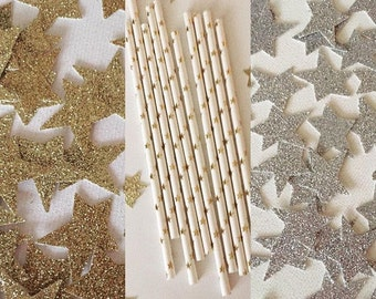Twinkle Twinkle Little Star Baby shower, Twinkle little star First Birthday, Gold or Silver Star Straw &  Glittery Star Confetti Bundle,