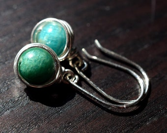 Russian Amazonite Earrings, Blue Green Stone Earrings, Sterling Wire Wrapped Earrings, Dangle Earrings, Teal Earrings, Simple everyday