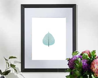 Printable art Digital Prints Wall art home decor Blue leaf printable art, printable prints