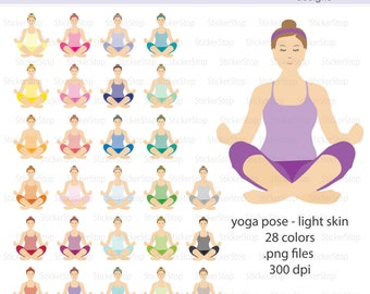Yoga Pose Light Tone Icon Digital Clipart in Rainbow Colors - Instant download PNG files