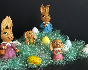 Vintage Bunny Rabbit Family Easter Decoration Set Of 4