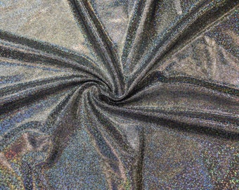 Solid Silver Holographic Spandex Fabric Linear Rainbow Space Robot Grey Gray Shiny Sparkly Steampunk Unicorn Rock Star Rave (By the Yard)