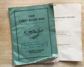 Blank Farm Family Record Book Vintage Paperback Ledger plus 5 Year Inventory Record