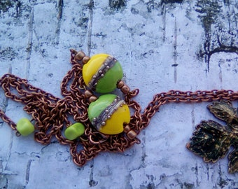 bohemian long necklace with leaf pendant