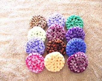 12 - All Nylon, Multi-colored, 2 Ply,  Crocheted, Scrubbies - 1 dozen