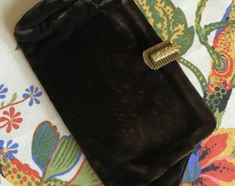 Lovely vintage clutch, soft rich brown fabric