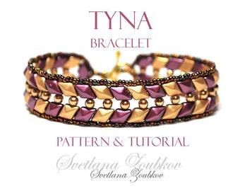 Beaded Bracelet Pattern for  Diamond Duo Two Hole Beads Tyna Tutorial
