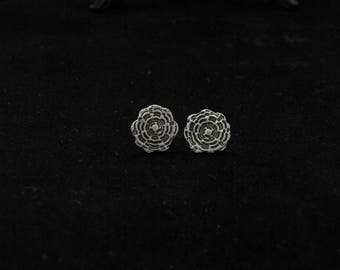 Antique style, rosette, silver post earrings with black patina