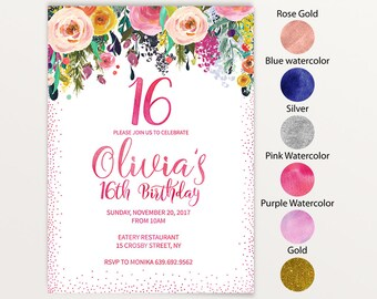 Sweet 16, birthday invitation, sweet 16 party, sweet 16 invitation, glitter, pink and gold, 16th birthday, gold glitter, sweet sixteen 25