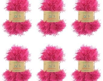 BambooMN Brand - Eyelash Yarn - 50g - 6 Skeins - Rosewood