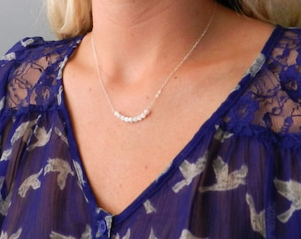 White bead bar necklace on sterling silver or gold filled chain, modern pretty jewelry