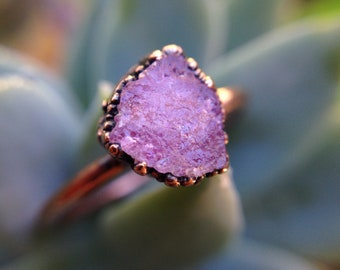 Pink Tourmaline | Tourmaline Ring | Raw Tourmaline | Tourmaline Copper Ring | Mineral Ring | Crystal Ring | Earthy Ring | Ready-To-Ship