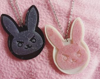 Kawaii/cute resin gaming bunny necklace or keychain, custom colours
