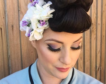 Vintage Pin-up Style White Hydrangea and Purple Sparkle Hair Flower Clip