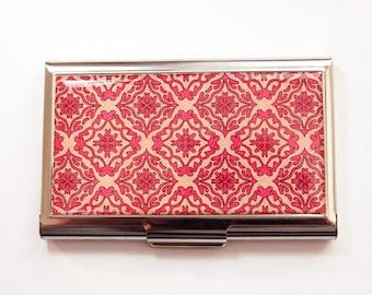 Business Card Case, Card case, business card holder, Pink, Peach, Abstract Design, Venetian Design (3668)