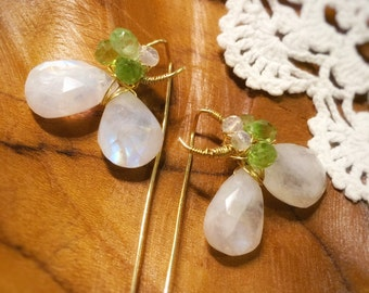 Moonlight Clover>>Moonstone Peridot Quartz Earrings, Teardrop Gemstone Long Tail Earrings, Gold Vermeil, Handmade Jewelry