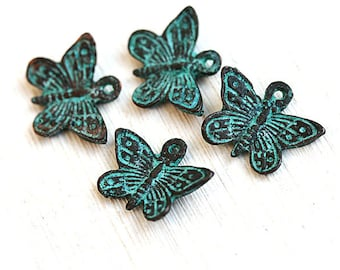 Butterfly charms, Butterflies beads, verdigris Patina on copper, Butterfly greek beads, Lead Free - 4Pc - F286