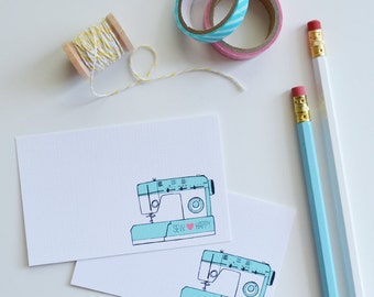 CHOOSE your color Set of 24 Sew Happy Mini Cards, Sewing, Sewing Machine, Illustration, Quote, Note cards, 2.75 x 4.25 inches