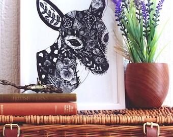 Deer Illustration Print// Deer Drawing // Deer Art Print // Woodland Animal Art// Nursery Art // Nature Lovers Gift