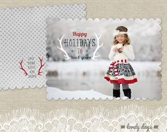 Holiday Christmas Card Photo Template for Photographers 5x7 INSTANT DOWNLOAD