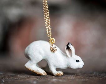 Porcelain White Hare Necklace