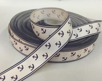 7/8 inch x 10 yards Grosgrain Ribbon..Anchors (Navy)--On Sale Now...FREE SHIPPING