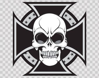 Sticker Decal Cross with Skull 02441