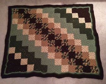 Crocheted Afghan - Camouflage